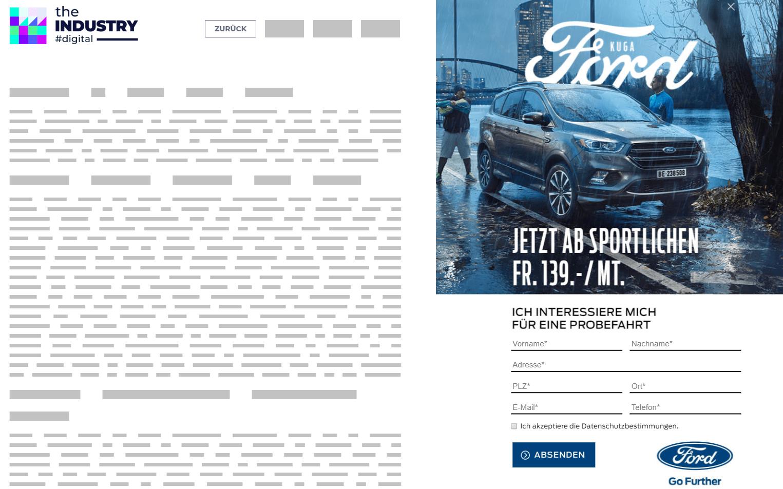 Das Bild zeigt eine Sitebar Response Probefahrt von Ford