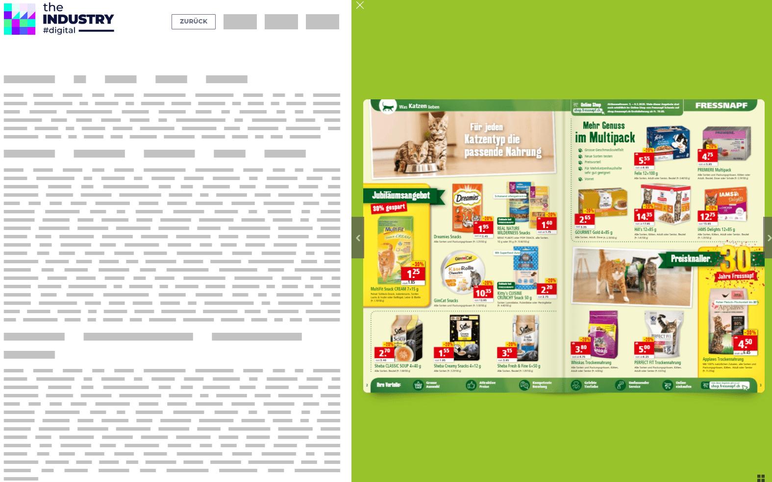 Das Bild zeigt eine Sitebar Katalog von Fressnapf