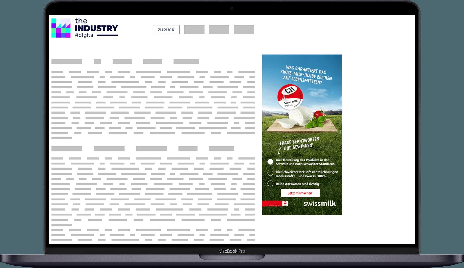 Das Bild zeigt ein Halfpage AD Response Quiz von Swissmilk