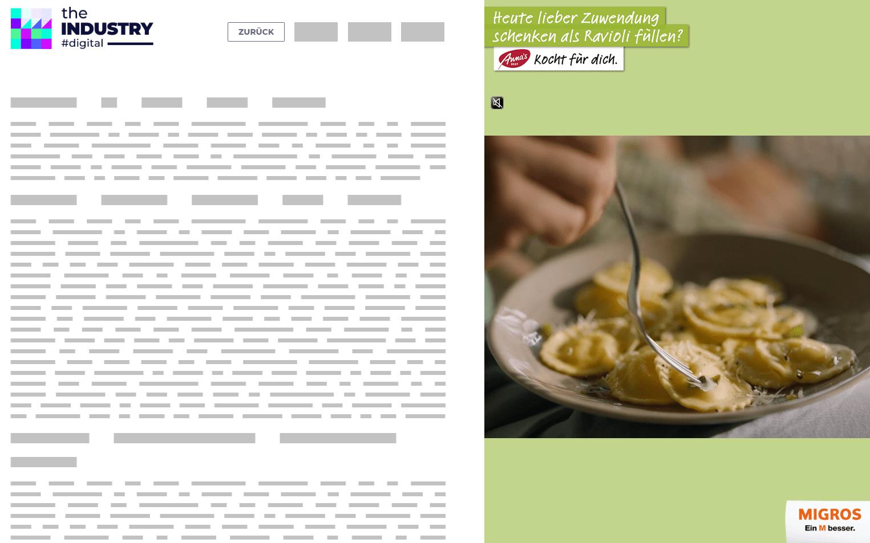 Das Bild zeigt eine Sitebar Basic mit Logo und Claim von Migros