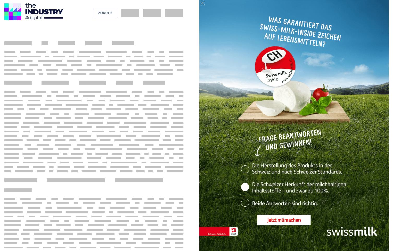 Das Bild zeigt eine Sitebar Response Quiz von Swissmilk