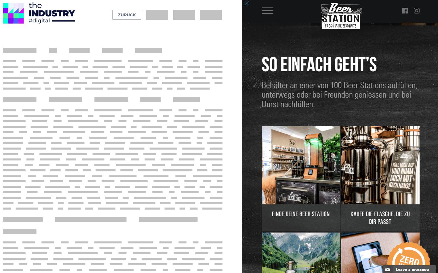 Das Bild zeigt eine Sitebar Website Integration von Beer Station